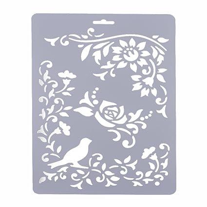 YNuth Plantilla de Dibujo de Plástico del Diseño Rosa y Pájaro para ...