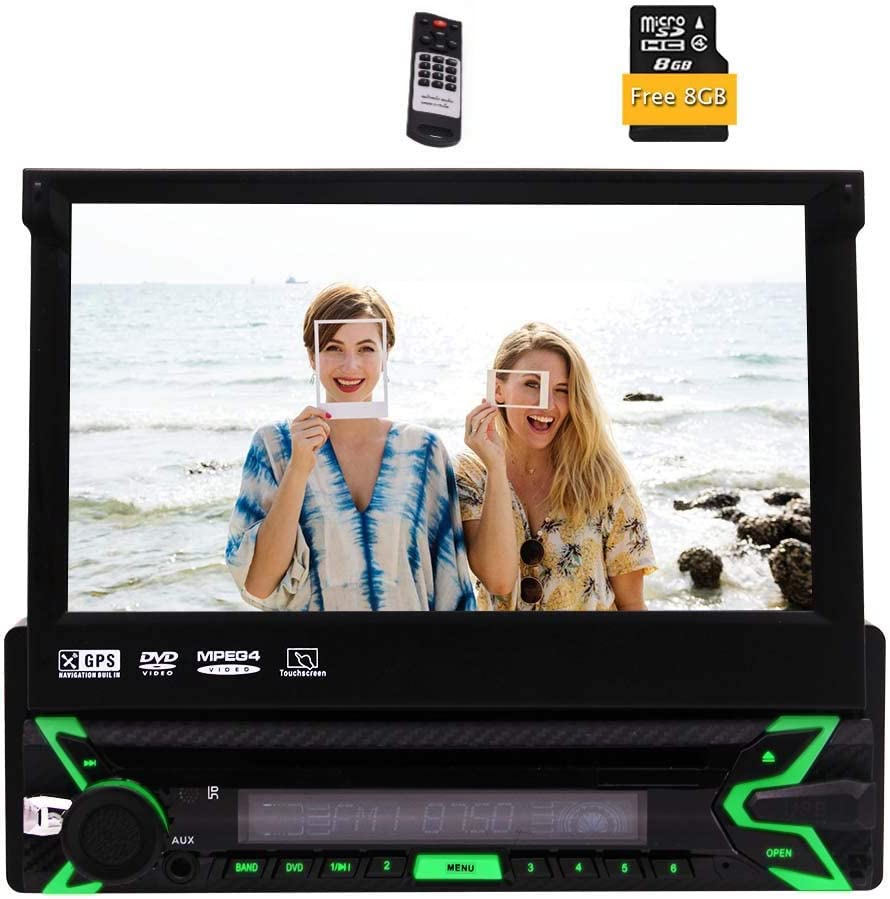 EinCar Car Single Din DVD Player Capacitive Touch Screen Car Stereo Bluetooth Radio in Dash GPS Navigation 1din 7 inch Head Unit Support HD 1080p Video SWC USB SD Cam-in+Remote+Map