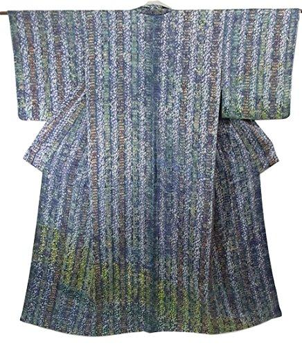 接続されたのホスト団結リサイクル 着物 訪問着 縞模様 絞り染め 正絹 袷 裄63cm 身丈156cm