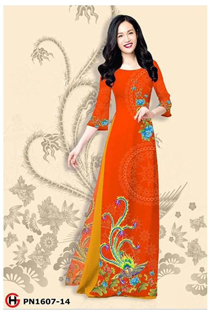 Silk 3D All Size Ao Dai Traditional Vietnamese Long Dress Collections with Pants ADVN01037