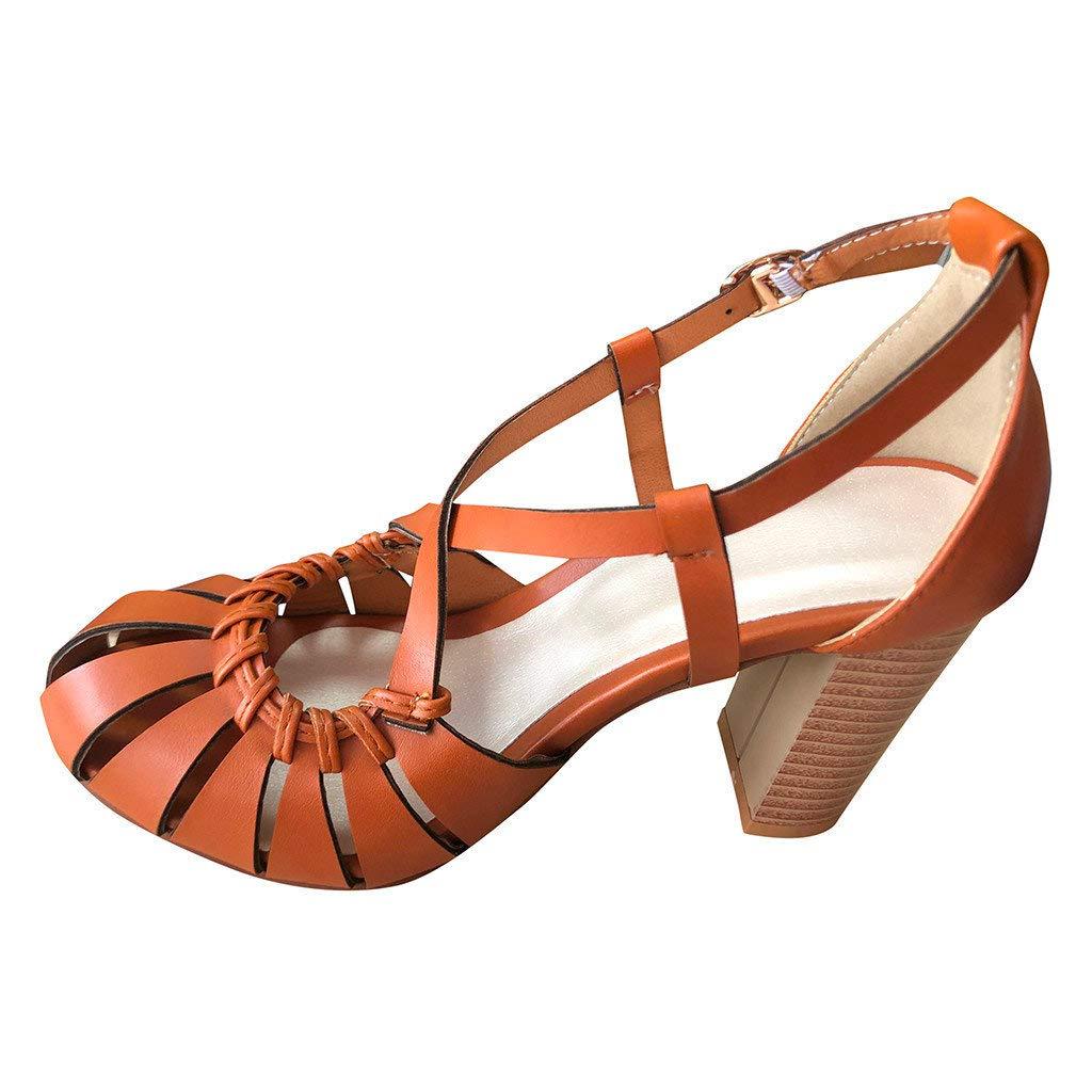 Women's Ladies Elegant Buckle Strap Ankle Peep Toe High Heel Sandals Roman Shoes, 2019 Deals! Fashion Shoes Brown