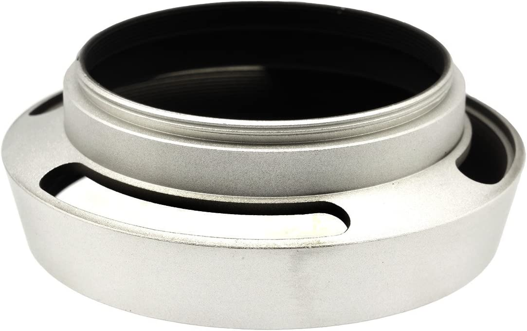 Gadget Place Silver Vented Metal Lens Hood with Cap for Leica Summarit-M 35mm F2.4 ASPH
