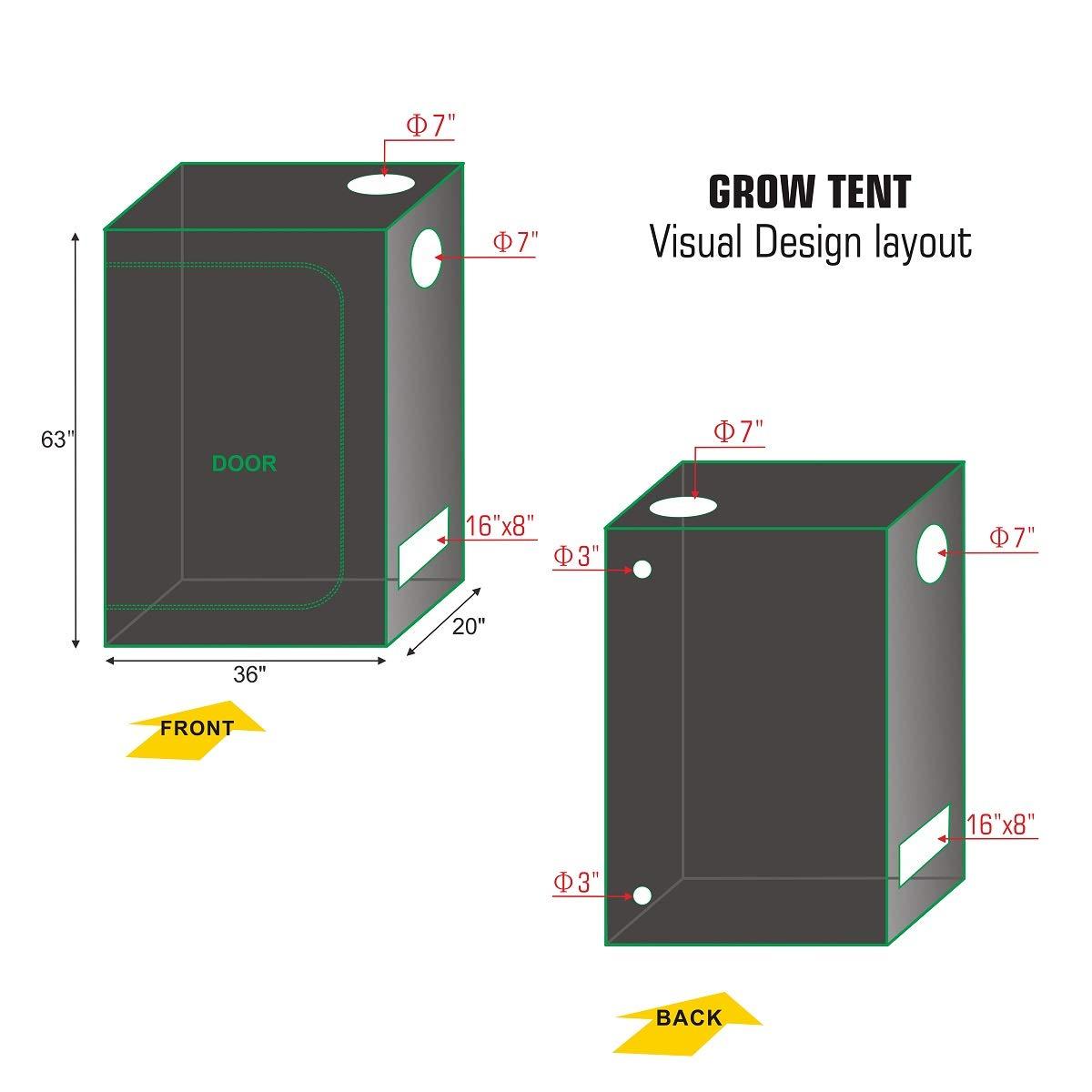 Hydro Plus Grow Tent Complete Kit LED 300W Grow Light 4 Fan Filter Ventilation Kit 36 x20 x63 Grow Tent Setup Hydroponics Indoor Plants Growing System LED300W 36 x20 x63 4 Filter Kit