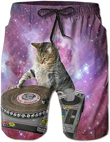 DJ Cat Print Swim Trunks Summer Beach Shorts Pockets Boardshorts for Men