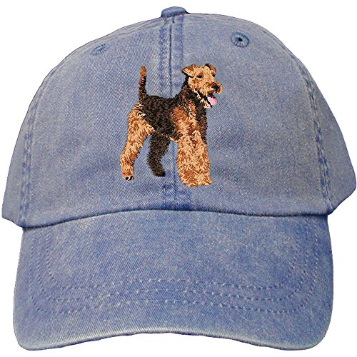(Cherrybrook Dog Breed Embroidered Adams Cotton Twill Caps - Royal Blue - Welsh Terrier)
