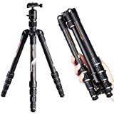 """K&F Concept TC2335 Lightweight Carbon Fiber Portable Tripod Travel Tripod 53.1""""(1348mm) with 360° Ball Head and 5 Sections, Folded Length: 13.58""""(345mm), Load Weight: 26.46lb(12KG)"""