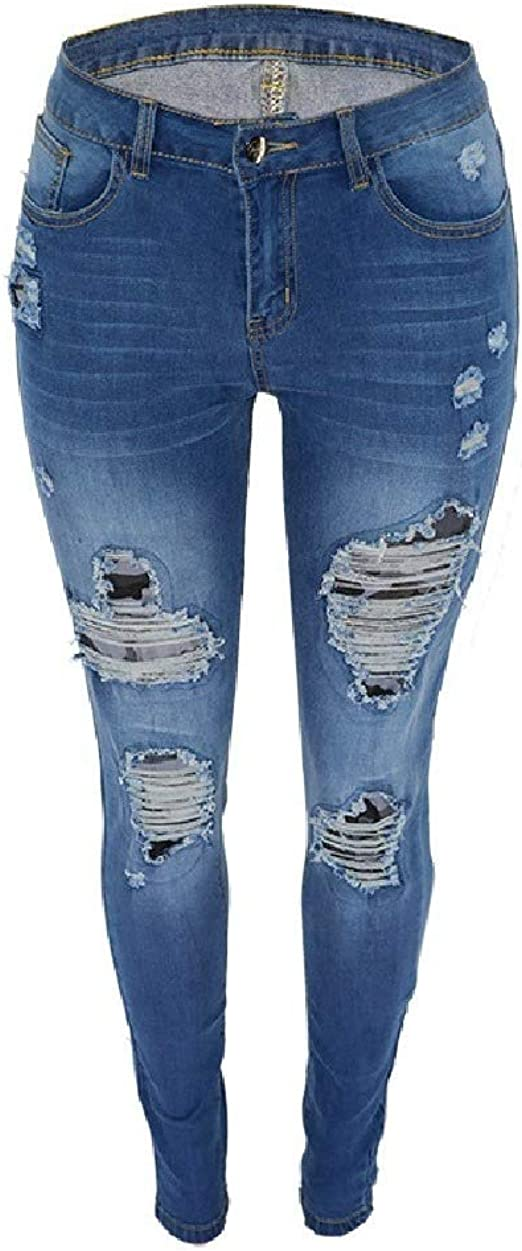 EnergyWD Womens Mid-rise Stretchy Elegant Skinny Ripped-Holes Washed Jeans Pants