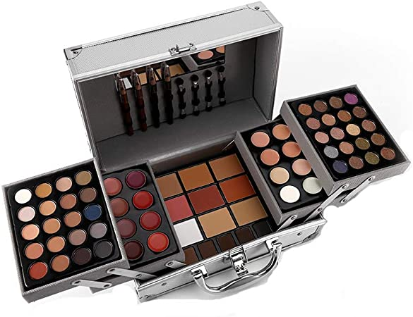JWR Estuche de cosméticos Kit de Maquillaje Sombra de Ojos Rubor Espejo Corrector Lápiz Labial Estuche Maletas,Silver: Amazon.es: Hogar