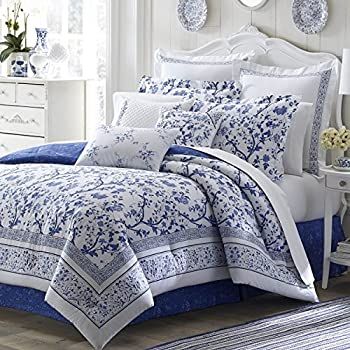 Image of 4 Piece King, French Country Floral Pattern Comforter Set, Traditional Classic Shabby Chic Coastal Design, Antique Toile Designer Themed, Unique Reversible Bedding, Adorable Navy Blue, White Color