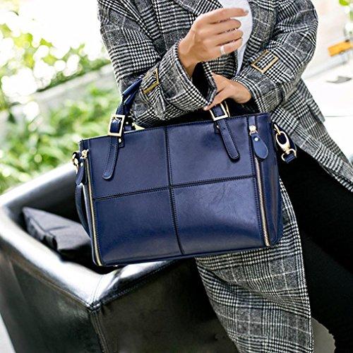 Feixiang® Bag Donne Borsa In Moda Donna Pelle Catena Borse Elegante Messenger Spalla Tote Crossbody Blu A Satchel ZxETwnBCnq