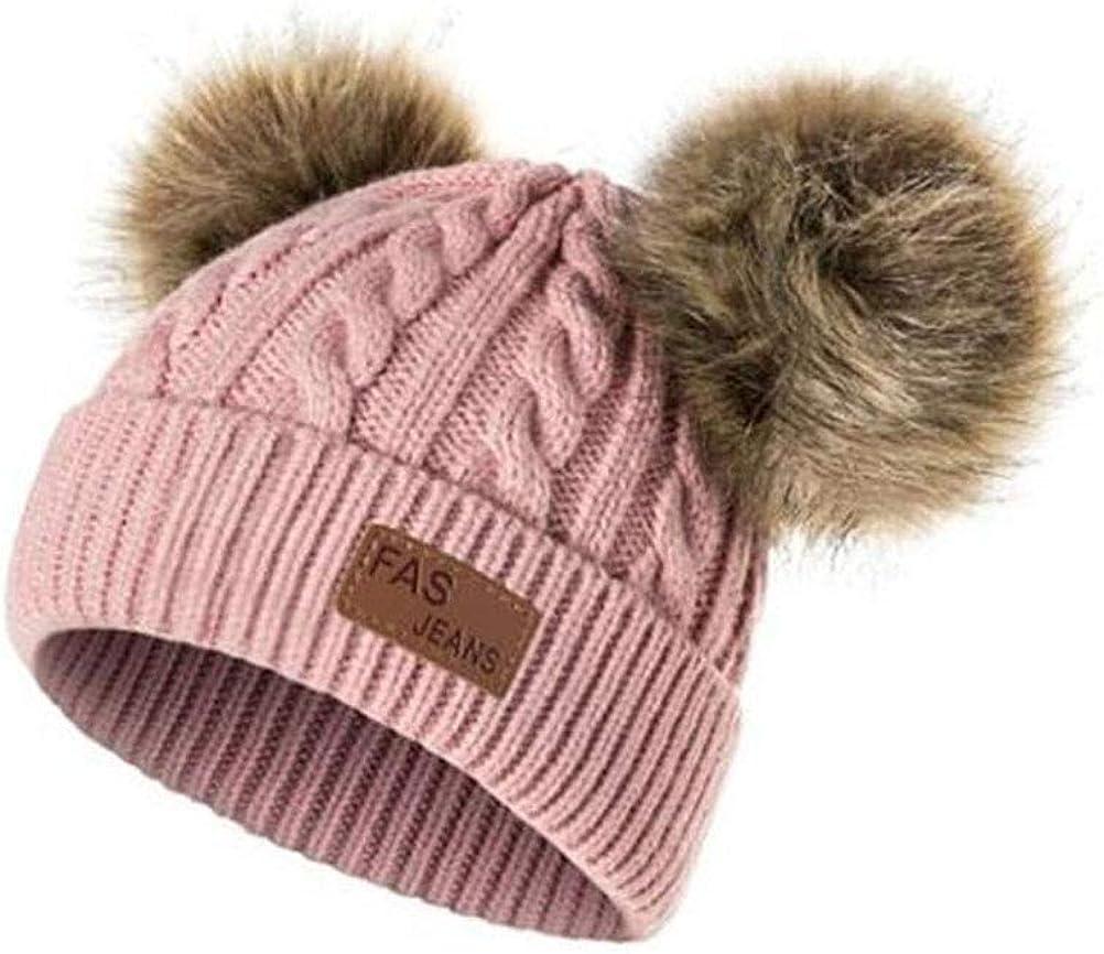 TENDYCOCO Sombrero Beanie Doble Pompom de Punto Gorras Otoño Invierno Cálido Suave Crochet Sombreros para niños Niños Niñas (Rosa)