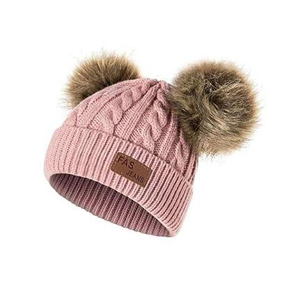 5e45e5b7372 BESTOYARD Double Pompom Child Kids Beanie Hat Cute Baby Fox Fur Ball  Knitted Caps Autumn Winter Warm Soft Crochet Girls Boys Hats (Skin Pink)   Amazon.co.uk  ...