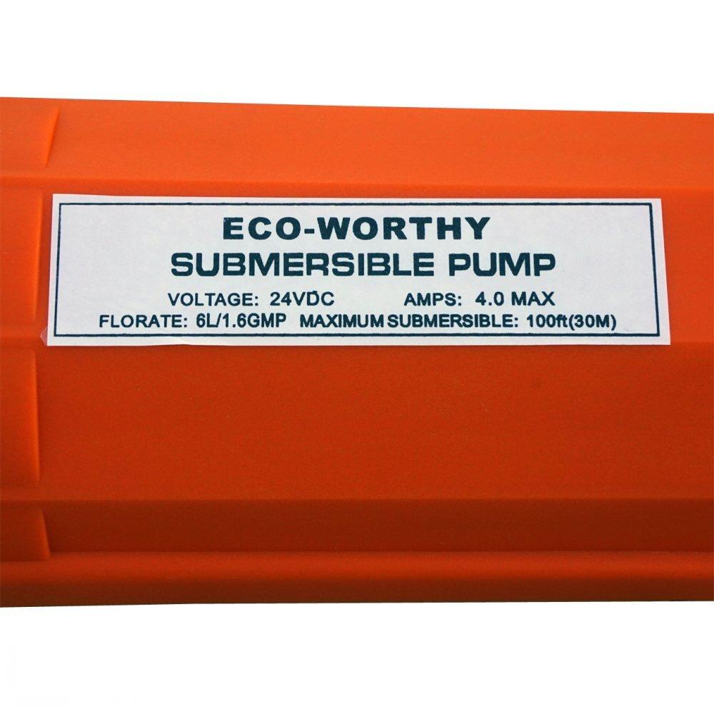 pompe submersible /à grand d/ébit 360LPH // 96GPH ECO-WORTHY Pompe /à puits profond 24V /él/évation de pompe MAX 230ft // 70M avec c/âble 10ft // 3M pour puits de 4 pouces ou plus