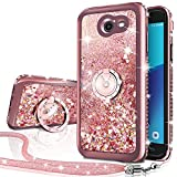 Galaxy J7 Perx Case,Galaxy J7 Prime/J7 V/J7 Sky Pro/Halo Case, Silverback Girls Moving Liquid Holographic Sparkle Glitter Case With Ring, Bling Diamond Rhinestone Case for Samsung Galaxy J7V 2017 -RD