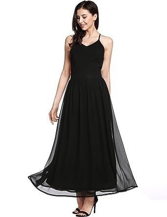 d00fe634f5e Meaneor Elegant Ladies Summer Sleeveless Bohemia Party Cocktail Dress  (Black