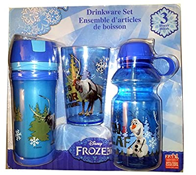 Disneys Frozen Olaf and Sven Blue 3 Piece Drinkware Set