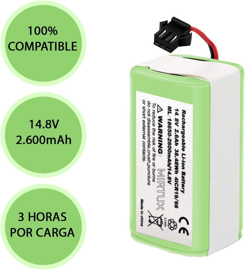MIRTUX Bater/ía Conga 950 y 990 reemplazo 14,8V 2600mah Li-Ion Repuesto de Litio Recargable Compatible con Conga excelence 950 y 990