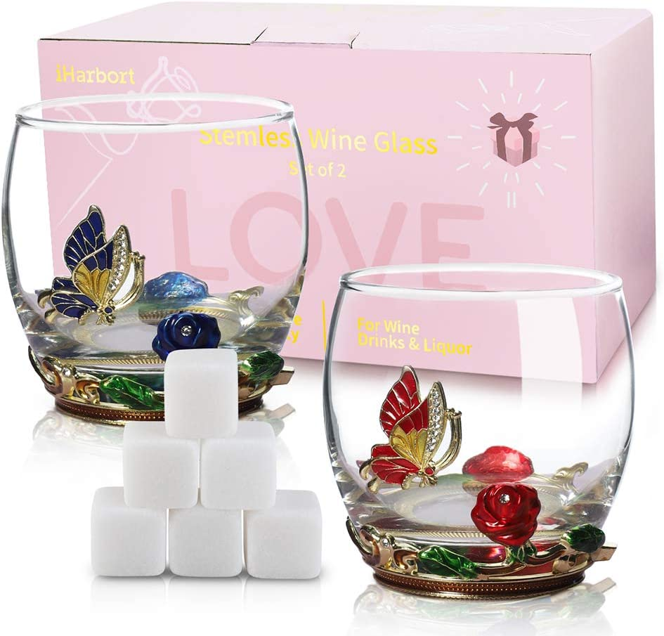 Stemless Wine Glasses, 2-Pack, 11 oz, Unique & Funny Red & White Wine glass Gift Set with 6 Beverage Chilling Stones for Whiskey Drinks Liquor Vodka for Mother/ Father, Rose & Butterfly