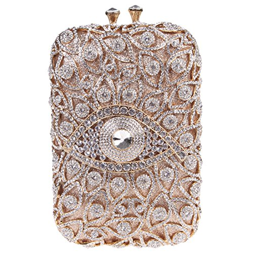 Fawziya Eye Shape Purses And Handbags Wholesale Bags For Girls-Gold