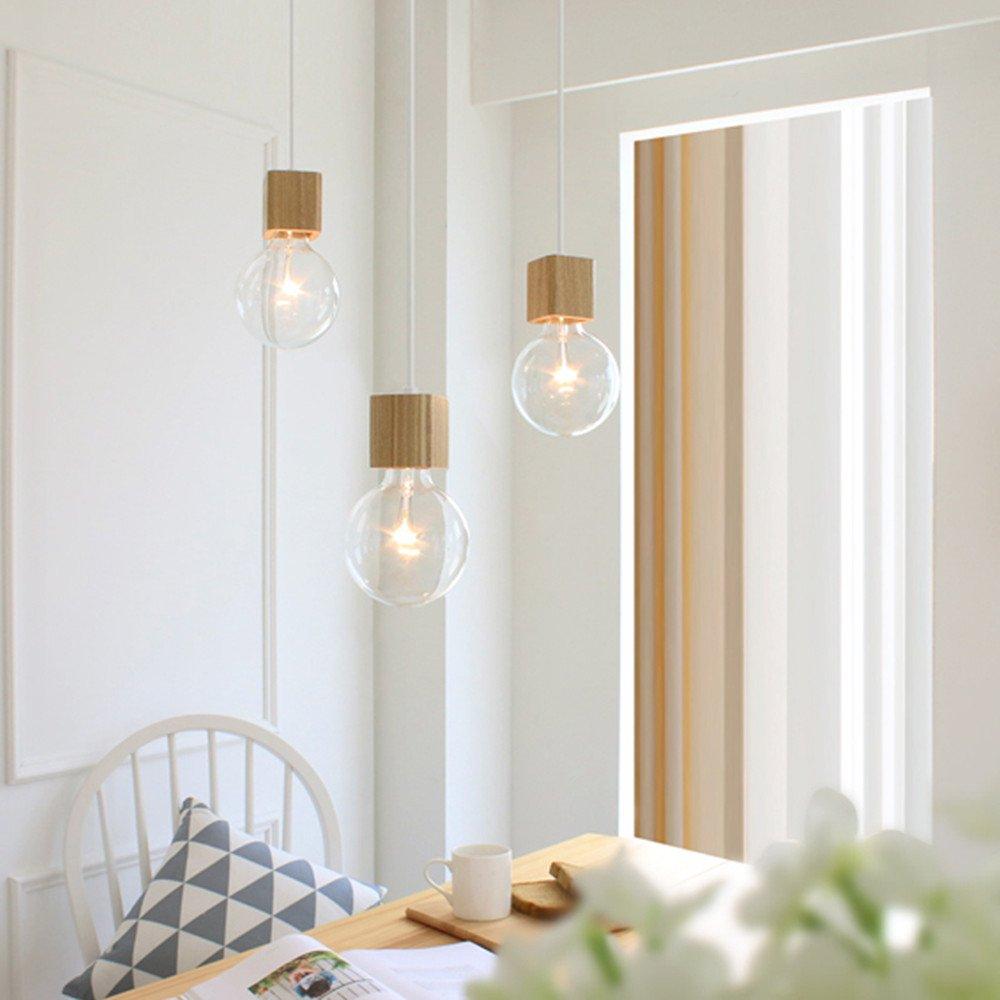 BOKT 1-Light Minimalist Ceiling Pendant Lamp Enjoy DIY Multi-Hanging Lantern kit Natural Wooden Lamp Holder E26/E27 Island by BOKT (Image #5)