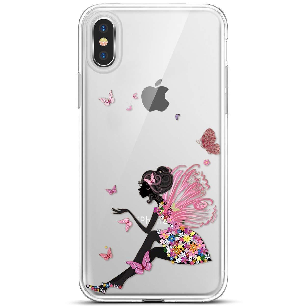 Felfy Trasparente Cover Compatibile con iPhone XS Max Custodia Silicone Morbido,Ultra Sottile Slim Cover con Trasparente con Disegni,Bling Glitter Brillantini Dipinto Disegni TPU Shiny Case.Panda