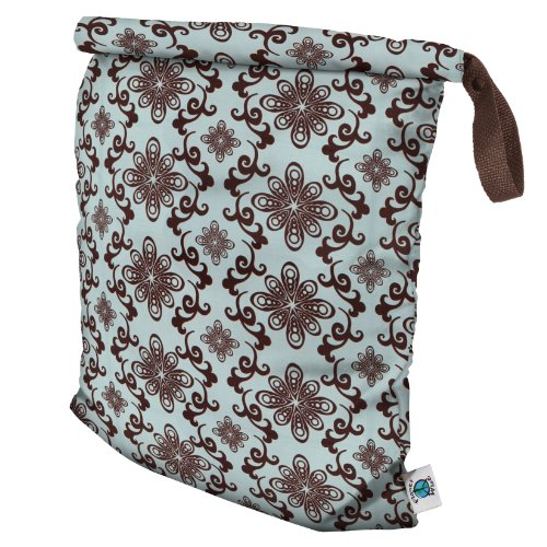 Planet Wise Roll Down Wet Diaper Bag, Aqua Swirl, Large