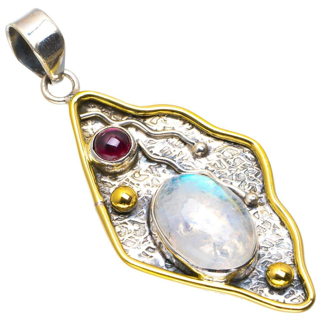 Natural Two Tones Rainbow Moonstone and Amethyst Handmade Unique 925 Sterling Silver Pendant 2 A1719