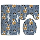Huadduo Fox Southwest Baby Animals Bath Mat Set,3 Piece Bathroom Mats Set Non-Slip Bathroom Rugs/Contour Mat/Toilet Cover