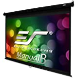 """Elite Screens Manual B, 120"""" 16:9, Manual Pull Down Projector Screen 4K / 3D Ready with Slow Retract Mechanism, 2 Year Warranty, M120H"""