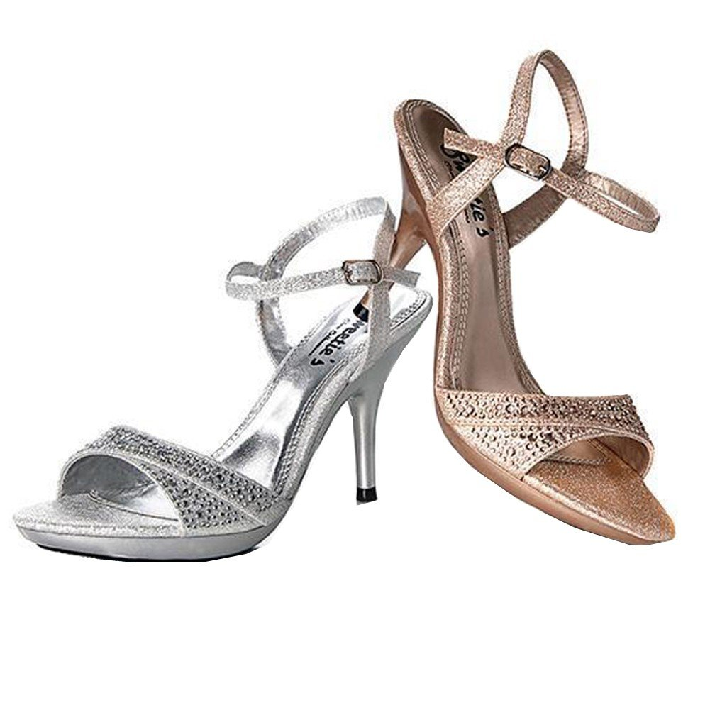 82bc55ced Amazon.com   Sweetie's Shoes Silver Glitter Ankle Strap Lynn Elegant Sandal  5.5-11 Womens   Sandals