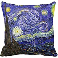 Starry Night Famous by Vincent Van Gogh Decorative Pillow Case Cushion Cover Sofa Bedroom Lumbar Throw Pillow Case 18x18 inches