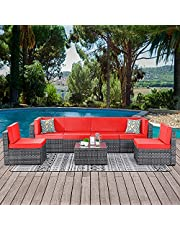 Walsunny 7 Piece Outdoor Patio Furniture Sets, PE Silver Gray Rattan Wicker Sectional Sofa Couch with Tea Table & Washable Cushions (Red)