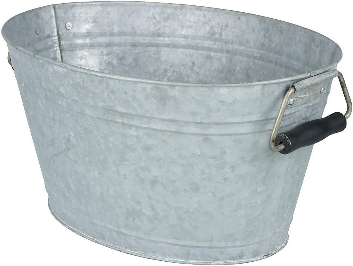 Clas Ohlson ® Zinc Tub with Handles - Vintage Style Decorative Storage, Metal Garden Flower Planter Tub, Suitable for Indoor & Outdoor - (W x D x H) 38 x 29 x 20 cm