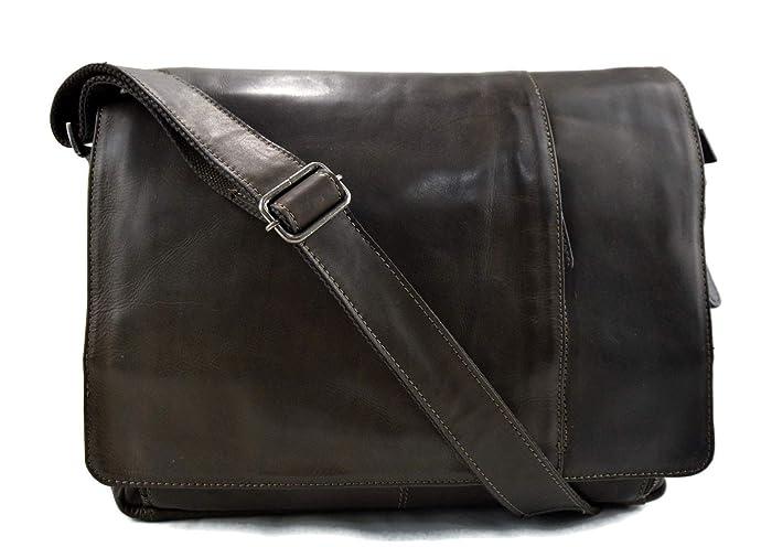 42996025b3 Amazon.com  Genuine italian leather shoulder messenger bag ipad laptop  ladies men notebook leatherbag satchel dark green crossbody business  executive  ...