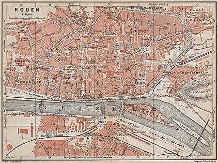Rouen Antique Town City Plan De La Ville Seine Maritime Carte 1910 Old Antique Vintage Map Printed Maps Of Seine Maritime Amazon Co Uk Kitchen Home