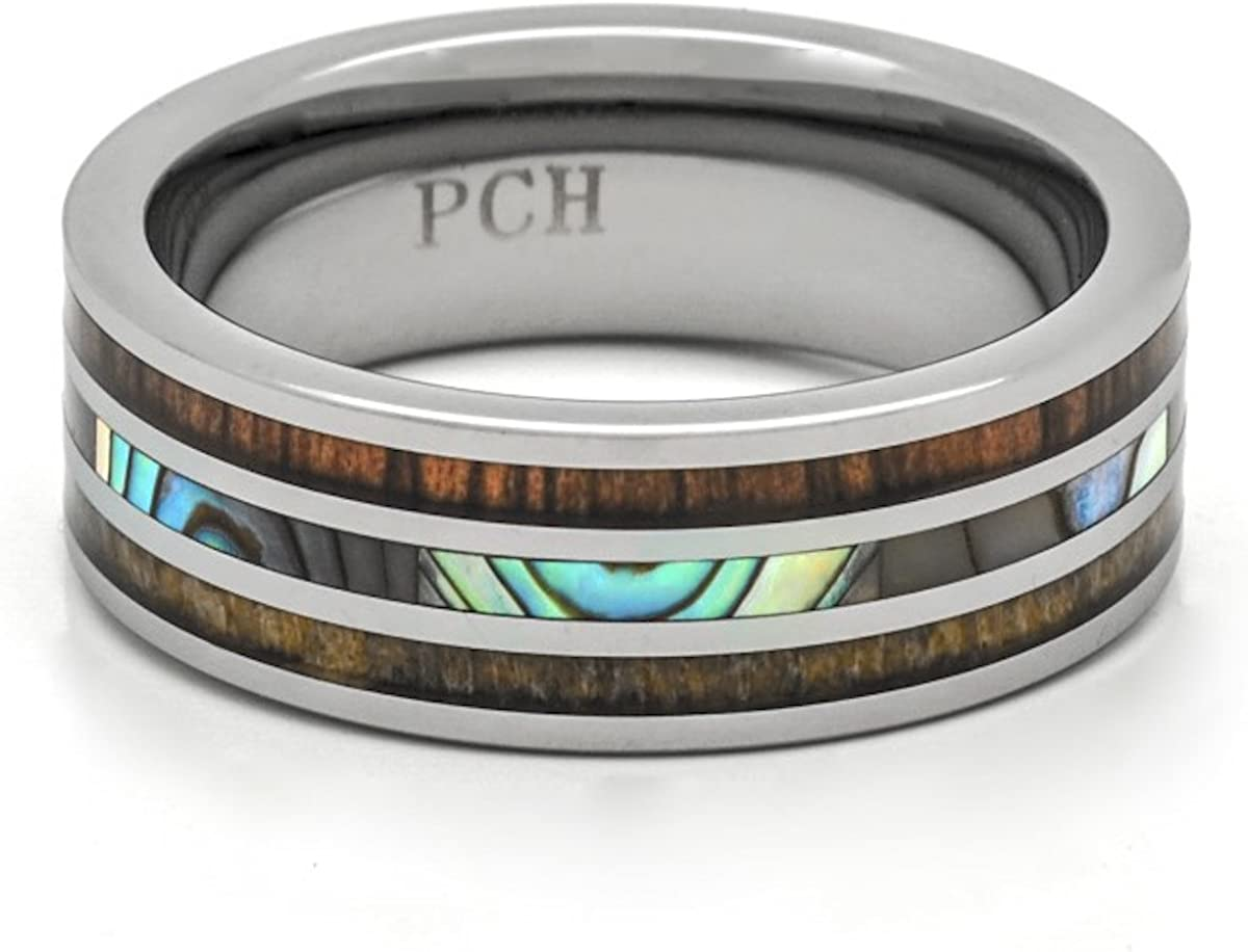 PCH Jewelers Deer Antler Ring Tungsten Koa Wood Abalone Inlay Wedding Band or Gift 8mm