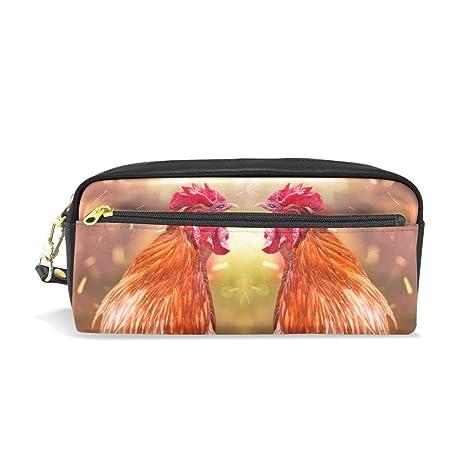 Estuche de piel para lápices con dos gallos y bolsa para ...