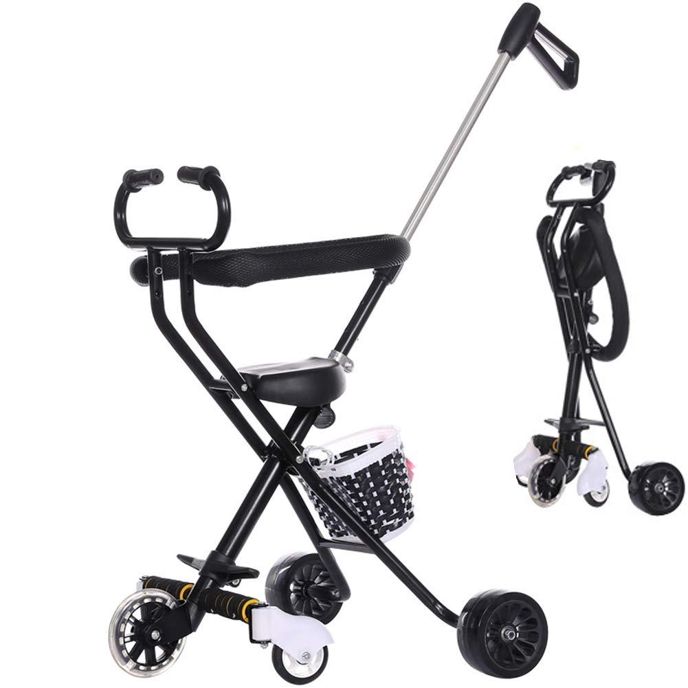 Ydq Triciclo para NiñOs con Capota ExtraíBle Y Plegable Incluye Barra TelescóPica para Los Mango Trike Smart Bici para NiñOs, 18 Meses - 5 AñOs