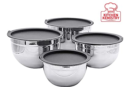 Kitchen Kemistry Stainless Steel German Bowl Set with 4 Different Sizes (1, 1.5, 3 and 5 Quart,�