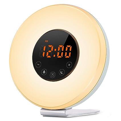STOGA Luz Despertador, Wake Up Light Despertador con Luz Que Simula el Amanecer, Lámpara de Noche con Función Puesta del Sol, Sonidos de la ...