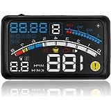 ALLOMN ヘッドアップディスプレイ スピードメーター HUD OBD2/EU OBD2 ドライブドクター フロントガラス ディスプレイ表示 運転走行距離の測定4E ブラック 日本語説明