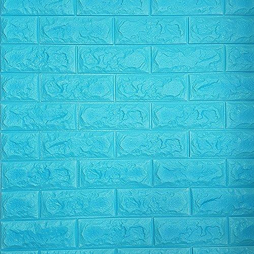 【お得12枚セット】 レンガ タイル ブロック 壁紙 壁用 リフォーム シート ブリック 立体 クッション 子供部屋 ウォールステッカー DIY のり付き B01MCWLN32 12枚|ブルー:(qb-006)