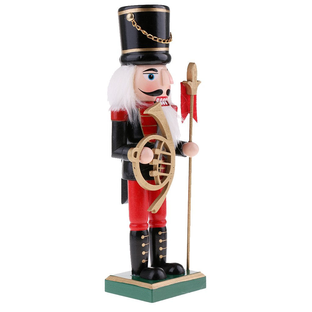 Homyl 25cm Wooden Solider Nutcrackers w/ bagpipes Puppets Doll Toy Action Figurie Christmas Xmas Holiday Home Decorations Kids Gift