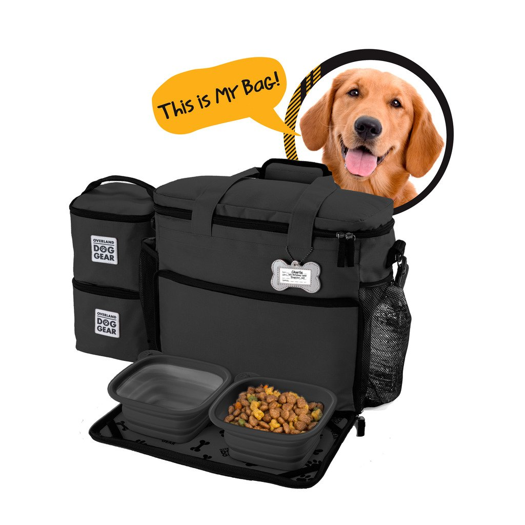 Black Dog Travel Bag Week Away Tote For Med And Large Dogs Includes Bag, 2 Lined Food Carriers, Placemat, and 2 Collapsible Bowls