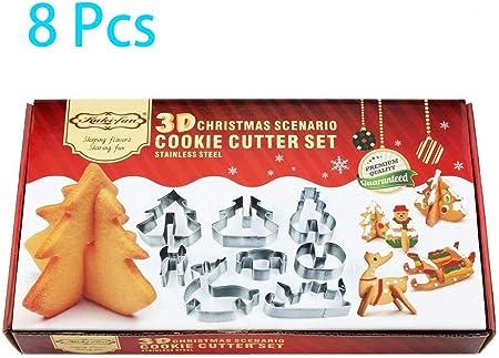 8pcs 3D Noël scénario Cookie Cutter gâteau décoration en acier Inoxydable Biscuit