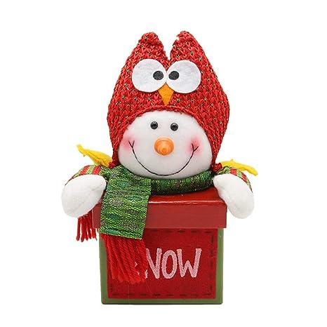 YeahiBaby Caja Muñeco de Nieve Cajas de Dulces Decoración de Mesa de Navidad Adornos de Navidad