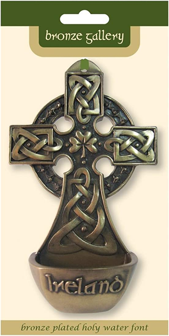 Royal Tara Bronze Plated Holy Water Font, Measuring 15.5cm in height by 9cm in width