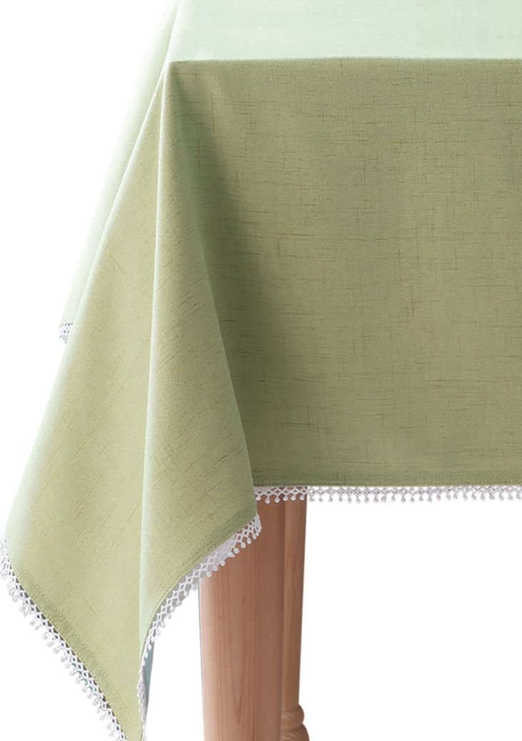 "HomeCrate Luxurious French Perle Collection Solid Tablecloth 70"" Round Pistachio, by Lenox - LIVE IN STYLE! - The classic French Perle collection solid tablecloth has the perfect combination of size, color, and style, allowing you to choose the best tablecloths for every occasion! And is fade resistant and will retain the color much longer than other tablecloths. FRENCH PERLE COLLECTION - Lenox French Perle collection solid design features a delicate, detailed, lace trim, and is made to be elegant yet simple and classy. This fresh contemporary design will surely adorn your table decor throughout the year. ADD A FRESH TOUCH - Dress up your tabletop and update your home with this attractive tablecloth that will enhance and brighten up your home, and will surely add a beautiful touch to your table decor. Spice up your home to add glamour and ambiance. - tablecloths, kitchen-dining-room-table-linens, kitchen-dining-room - 61acrAHKRFL -"