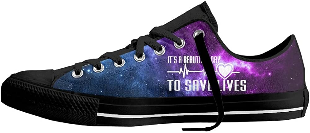 Its A Beautiful Day To Save Lives Unisex Classic Canvas Lace Up Shoes Sneakers For Men /& Women
