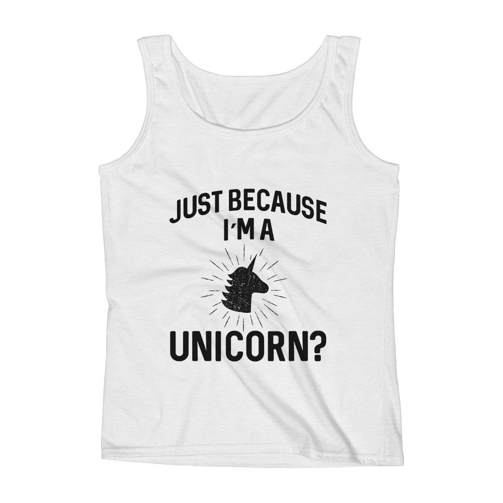 Mad Over Shirts Just Because Im A Unicorn Tale Story Fairy Princess Unisex Premium Tank Top